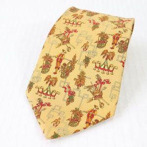 Salvatore Ferragamo Silk Geometric Necktie Gold